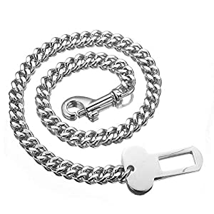 Granny Chic Stainless Steel Curb Chain Dog Safety Leash Dog Car Seat Belt Restraint Heavy Duty Car Seat Belt for Pet Click on image for further info.