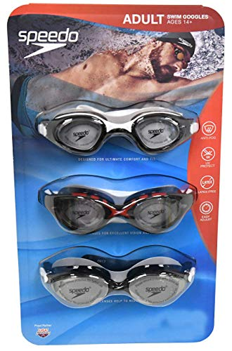 (Speedo 3 Pack Adult Swimming Goggles - Colors May Vary)