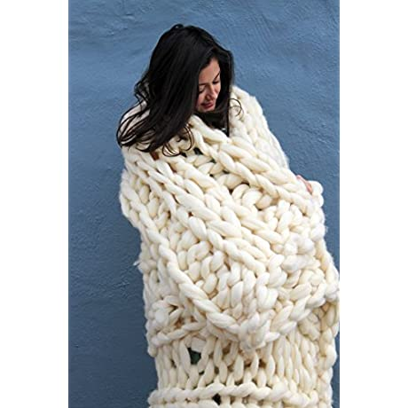 Chunky Knit Wool Blanket 40 X60 Natural White 100 Merino Wool Handmade