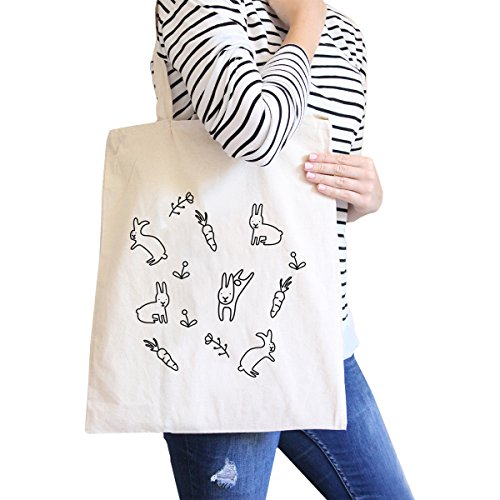 365 Printing Rabbit Pattern Natural Canvas Bags Cute Bunny Ester Gift Ideas
