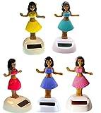 Mstechcorp, Set of 5 Aloha Dancing Hula Girl Hawaiian Bobble Head 1 Pink 1 Yellow 1 Red 1 Purple 1 Teal Solar Toy