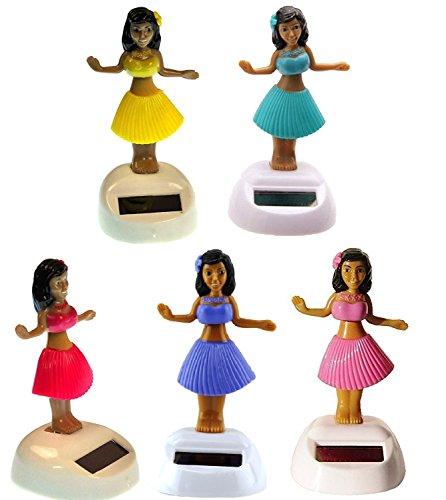 Mstechcorp, Set of 5 Aloha Dancing Hula Girl Hawaiian Bobble Head 1 Pink 1 Yellow 1 Red 1 Purple 1 Teal Solar -