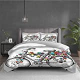Miles Ralph Flower Duvet Cover Colorful Blossoms on a Bike with Two Pillowcases 68x86 inch