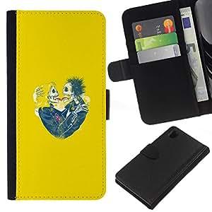 All Phone Most Case / Oferta Especial Cáscara Funda de cuero Monedero Cubierta de proteccion Caso / Wallet Case for Sony Xperia Z1 L39 // Yellow Hearts Couple Skull Skeleton