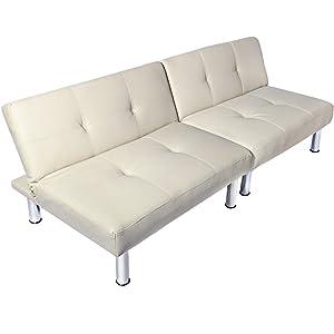 Miadomodo – Sofá cama multifuncional con patas cromadas – aprox. 177x87x64 cm – color crema
