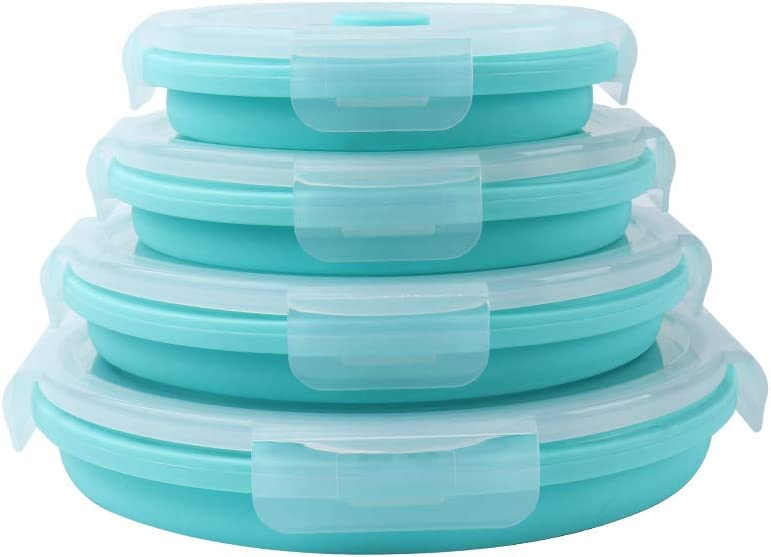 VIGIND Set of 4 Round Collapsible Food Storage Containers With Lids,Collapsible Bowls for Camping,Collapsible Silicone Lunch Box, Leftover Meal Box,BPA Free, Microwave, Freezer Safe,Blue