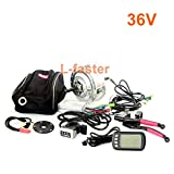L-faster 36V48V 250W Electric Bike Conversion Kit with LCD Display Electric Bicycle Rear Wheel Kit Wuxing Thumb Throttle with LCD Display (36V Thumb)