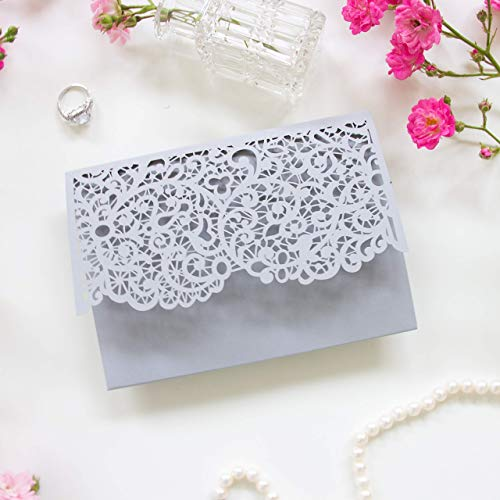 Grey Wedding Invitations with Envelopes Laser Cut DIY Cards Kit, Main Invitation, Day Invite, Evening Invite, RSVP, Wedding Wishes - PRE-PRINTED SAMPLE!