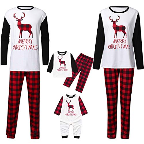Elk Family Matching Christmas Pajamas Set,Crytech Fawn Deer Plaid Print Infant Baby Romper Women Men Parent Children Top and Lounge Pant for Xmas Sleepwear Pj Outfit Clothes (3-4 Years, Toddler)