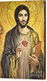 ''Sacred Heart Of Jesus Olmc'' by Smith Catholic Art, Canvas Print Wall Art, 20'' x 30'', Black Gallery Wrap, Glossy Finish