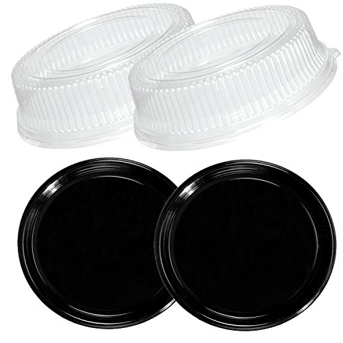 Party Essentials N716417 Soft Plastic 16-Inch Round Flat Serving/Catering Trays, Black with Clear Dome Lids, Set of 2 by Party Essentials (Image #1)