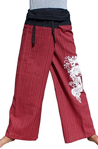 RaanPahMuang Tattoo Dragon Print Striped Cotton Two Toned Fisherman Pants Tall