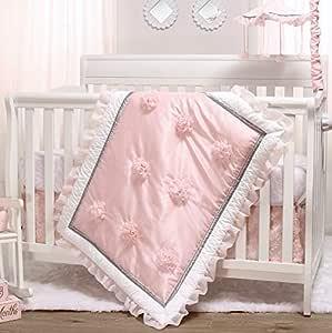 The Peanutshell Pink Crib Bedding Set for Baby Girls | 3 Piece Arianna Nursery Set | Crib Quilt, Fitted Crib Sheet, Dust Ruffle