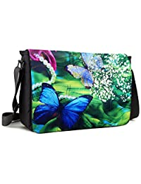 Meffort Inc 17 17.3 Inch Laptop / Notebook Padded Compartment Shoulder Messenger Bag with Shoulder Pad - Green Leaves Butterfly