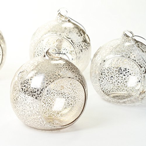 Well Display Base Wishing (Koyal Wholesale Glass Hanging Tea Light Holder, 6-Pack Terrarium Container (3-Inch, Antique Silver))