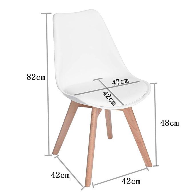 DORAFAIR Pack 4 sillas escandinava Estilo nórdico Silla de Comedor, con Las piernas de Madera de Roble Maciza y cojín cómoda,Blanco: Amazon.es: Hogar