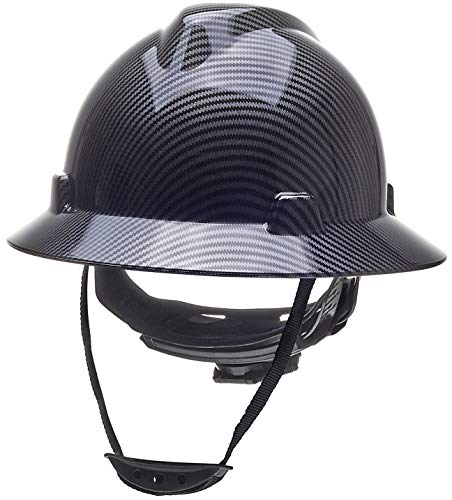 Full Brim Hard Hat Safety Helmet 6 Point Ratcheting System | Meets ANSI Z89.1 | Personal Protective Equipment Carbon Fiber Design