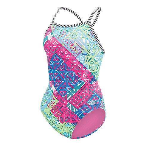 DOLFIN WOMEN'S UGLIES ONE-PIECE V-2 BACK SWIMSUIT-9502L INDIO-FUSC/GRN SIZE - Swimsuit 36 Size