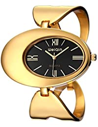 Women Watch Waterproof Rome Style Oval Gold-Tone Hollow Out Bangle Bracelet Watches Fashion Dress