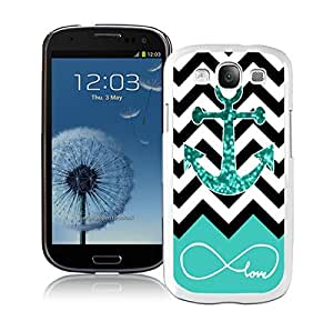 BINGO Cute Infinite Love Teal Glitter Anchor Samsung Galaxy S3 i9300 Case White Cover