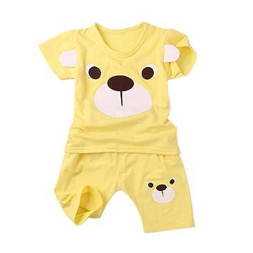 b2bd3f53c0102 YUEGUANG ベビー服 パジャマ セット キッズ服 男女兼用 上下2点セット 半袖シャツ ハーフパンツ