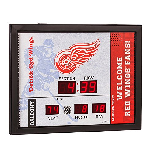 Hockey Art Detroit Red Wings - Team Sports America Detroit Red Wings Bluetooth Scoreboard Wall Clock