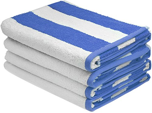 Large Beach Towel, Pool Towel, in Cabana Stripe - (Blue, 4 pack, 30x60 inches) - Cotton - by Utopia Towel (Towel Sets For Cheap)