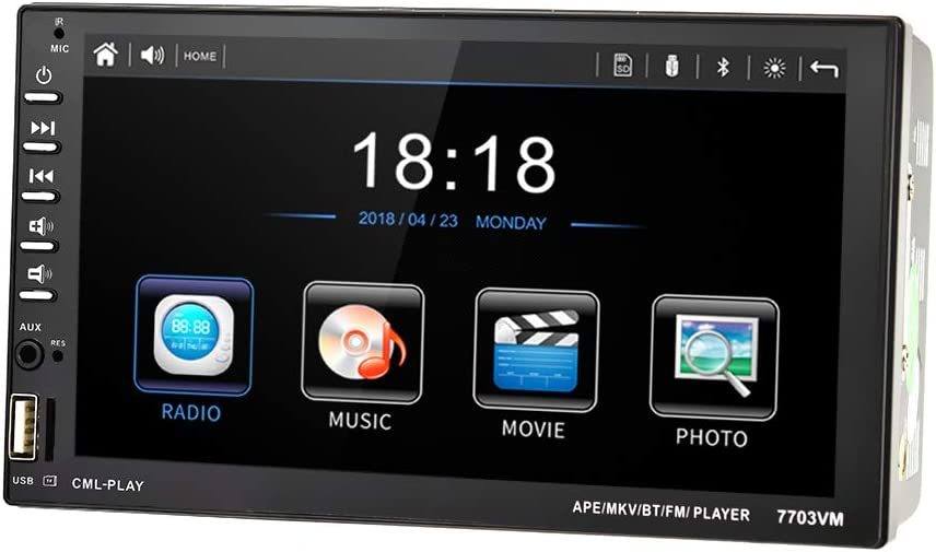 UNITOPSCI Car Stereo Car Radio Double Din 7 Inch Touch Screen with Bluetooth in Dash Head Unit Car MP5 Player FM Radio Video Support Backup Rear View Camera Mirror Link DVR/AUX-in/USB Remote Control