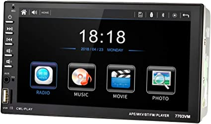 UNITOPSCI Car Stereo Double Din Android 8.1 Car Radio with Bluetooth 7 HD 1080P Touchscreen Car Multimedia Player GPS Navigation Mirror Link WiFi Car MP5 Player FM//USB//AUX//DVR