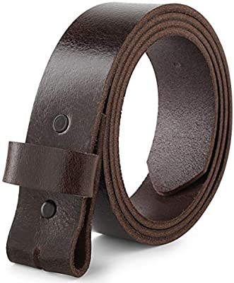 Mens Full Grain One Piece leather belt w//Snaps for Interchangeable Buckles,1.50 Wide USA
