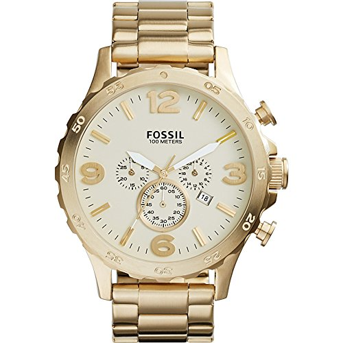 Fossil Men's JR1479 Nate Chronograph Stainless Steel Watch - Gold-Tone (Fossil 50mm Mens Watch)