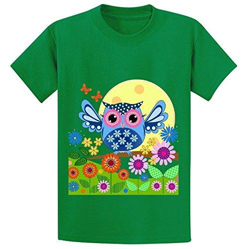 snowl-spring-owl-in-a-flower-garden-unisex-crew-neck-graphic-shirts-green