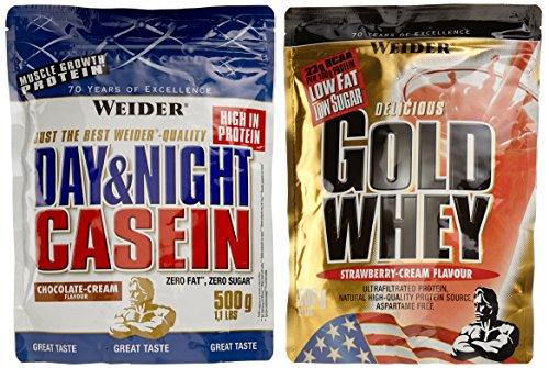 Weider Protein Mix Pack Gold Whey und Casein (2 x 500 g) Erdbeere und Chocolate Cream, 1er Pack (1 x 1 kg)