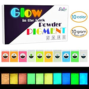 Glow in The Dark Pigment Powder – Epoxy Resin Color Pigment Dyes for DIY Slime Coloring Kit – Luminous Skin Safe Long Lasting Self Glowing for Acrylic Paint, Nail Art, Painting, Crafts – 0.4oz Each
