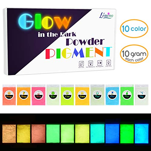 Glow in The Dark Pigment Powder - Epoxy Resin Color Pigment Dyes for DIY Slime Coloring Kit - Luminous Skin Safe Long Lasting Self Glowing for Acrylic Paint, Nail Art, Painting, Crafts - 0.4oz Each -