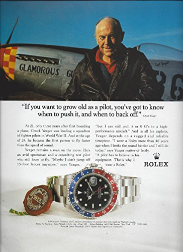 **PRINT AD** With Pilot Chuck Yeager For Rolex Chronometer Stainless Watches **PRINT AD**