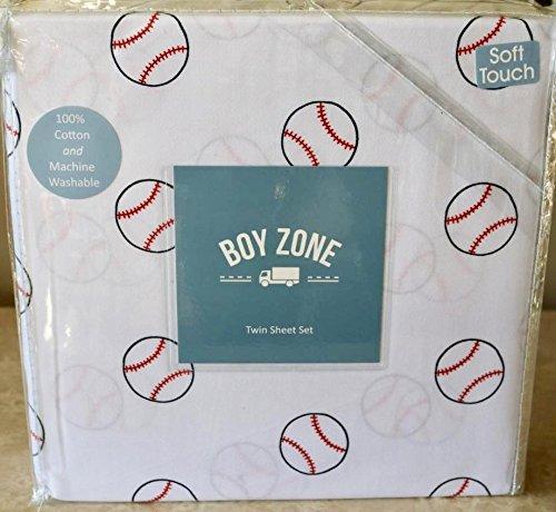 Boy Zone BASEBALL 3 - PIECE TWIN SHEET SET (all cotton)