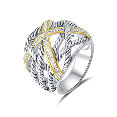 Inspired Gold Plated - UNY Ring Twisted Cable Wire Weave Designer Fashion Brand David Womens Vintage Valentine Love Gifts Rings (silver-and-gold-plated-brass, 7)