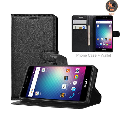 BLU R1 HD Case, Ultra Slim Stand Flip Wallet Case with Built-in Credit Card Slots, UMsky Premium Litchi Stria PU Leather Wallet Cover Case Holder, Flip Cover Skin for BLU R1 HD [Scratch Resistant]