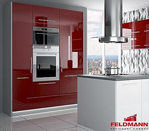 Küchenblock Hochschränke 16891 160cm grau / dunkelrot Hochglanz ...
