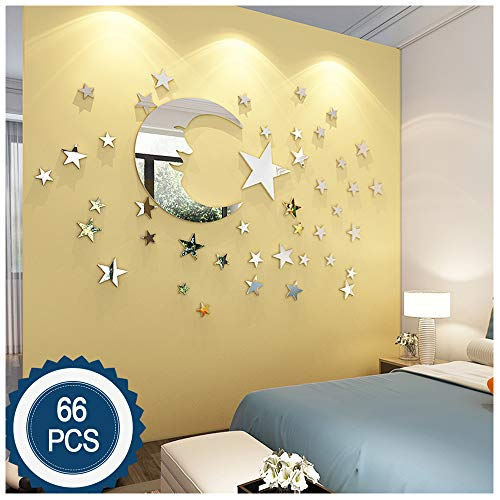 - ATFUNSHOP Moon and Stars Wall Stickers - 30cm Largest Moon with 66 Pieces Different Size Stars - for Baby Kid Room Decoration - Fairy Atmosphere Creation Perfect Birthday Holiday