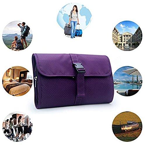 Travel Hanging Toiletry Bag Travel Kit Organizer Cosmetic Makeup Waterproof Wash Bag for Women Girls Travel Case for Bathroom Shower (purple)