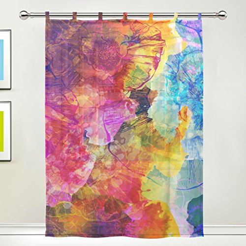 1 Piece Tulle Voile Window Room Decoration Sheer Curtain,Art Pigment Graffiti Colorful Leaves,Single panel Gauze Curtain Drape Panel Valance 55 x 78 inch
