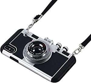 iPhone X Case, Umiko(TM) 3D Cool Camera Design Case PC + Silicone Cover Case with Long Strap Rope for Apple iPhone X (Moderate Hardness), Black