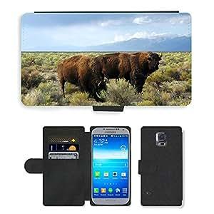 CARD POCKET BOOK CASE PU LEATHER CASE // M00104084 Buffaloe Animales Mamíferos // Samsung Galaxy S5 S V SV i9600 (Not Fits S5 ACTIVE)