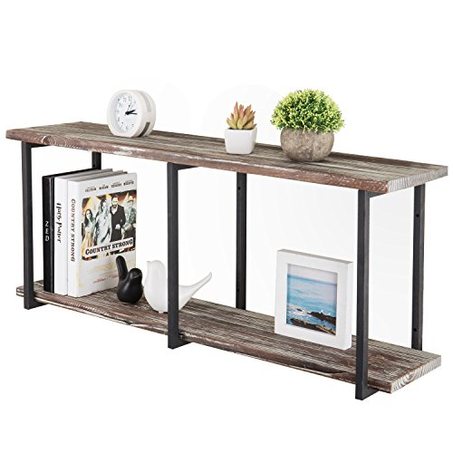 (MyGift Wall-Mounted 36-Inch Torched Wood 2-Tier Floating Shelf with Metal Brackets)