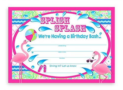 Flamingo Party LARGE Invitations - 10 Invitations 10 -