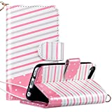 Image of ULAK iPod Touch 6 Case, iPod Touch 5 Case, Cute Flip Wallet Stand 3 Card Slots/ID Holders PU Leather Wallet Folio Shockproof Cover for Apple iPod Touch 5 6th Generation (Pink Stripes)