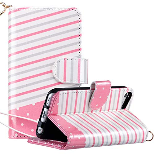 ULAK iPod Touch 7 Case, iPod Touch 6 & 5 Case, Flip PU Leather Wallet Stand Case Credit Card Holder Slots Shockproof Cover for Apple iPod Touch 5 / 6th / 7th Generation (Pink Stripes)