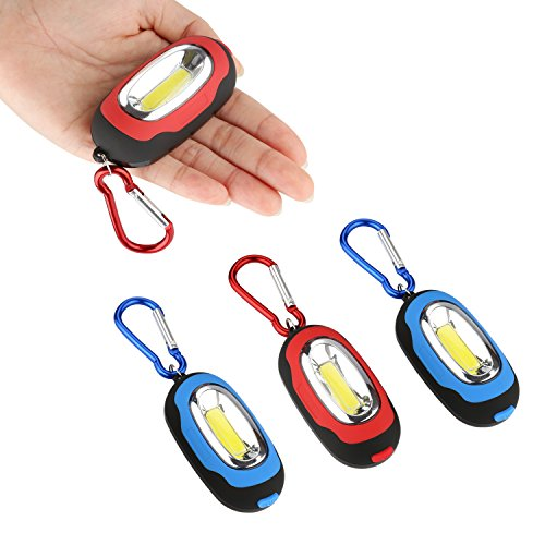 Accmor 4 PCS Small Keychain Flashlight,Super-Bright High Lumen Pocket Led Flashlight, Most Powerful Strobe Flashlight with Magnetic & Carabiner for Halloween (Red & Blue) by accmor
